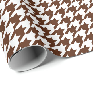 Medium Brown and White Houndstooth