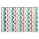 Medium Chevron Stripes Blue Coral Teal Fabric
