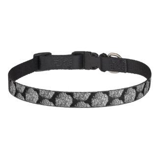 Medium Dog Collar - Black & White Hydrangea