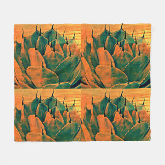 Medium Fleece Blanket - Sonoran Cactus in Orange