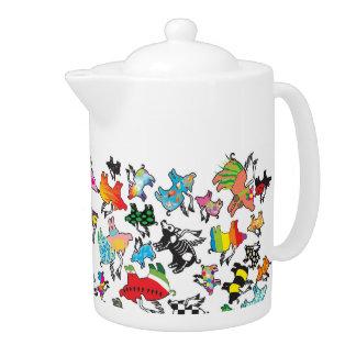 medium flying pig teapot