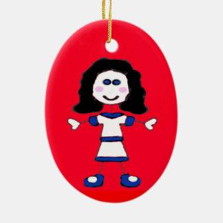 Medium Girl Stick Family Ceramic Ornament