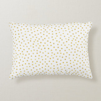 Medium Gold Watercolor Polka Dot Pattern Accent Pillow
