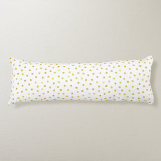 Medium Gold Watercolor Polka Dot Pattern Body Pillow