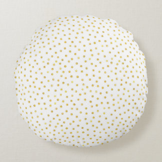 Medium Gold Watercolor Polka Dot Pattern Round Pillow