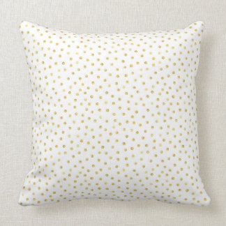 Medium Gold Watercolor Polka Dot Pattern Throw Pillow