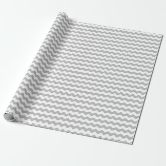 Medium Gray and White Waves Wrapping Paper