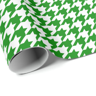 Medium Green and White Houndstooth