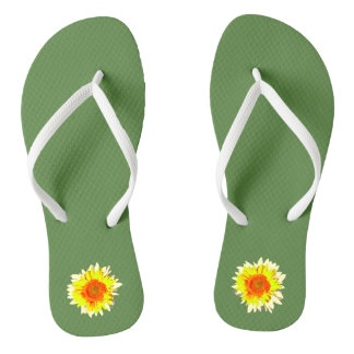 Medium Green Sunflower on Flip Flops