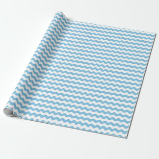 Medium Light Blue and White Waves Wrapping Paper