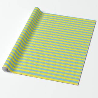 Medium Light Blue and Yellow Stripes Wrapping Paper