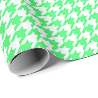 Medium Light Green and White Houndstooth Wrapping Paper