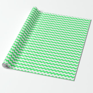 Medium Light Green and White Waves Wrapping Paper