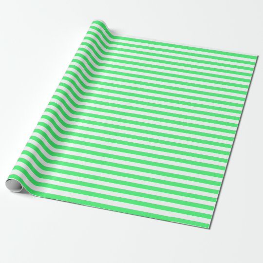 Medium LightGreen and White Stripes Wrapping Paper