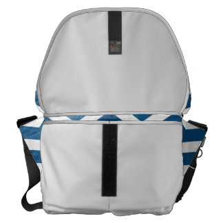Medium Messenger Bag Outside Navy Chevron Print