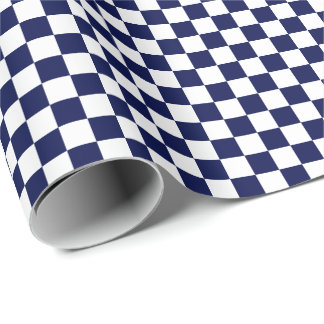 Medium Navy Blue and White Checks Wrapping Paper