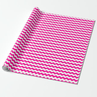 Medium Pink and White Waves Wrapping Paper