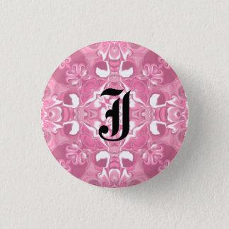 Medium Pink Kaleidoscope Pattern #2 Monogram 1 Inch Round Button