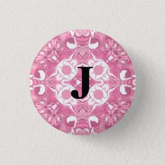 Medium Pink Kaleidoscope Pattern #3 Monogram 1 Inch Round Button
