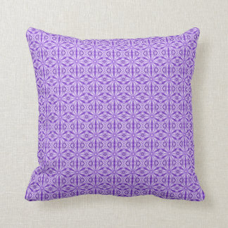 Medium Purple Fractal Pattern, Plain Purple Back Throw Pillows
