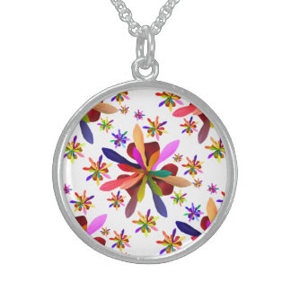 Medium Round Necklace with Stylized Flower 1