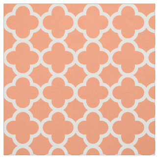 Medium-Scale Quatrefoil Coral Peach Teal Moroccan Fabric