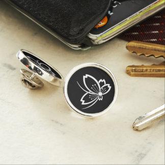 Medium shade cherry tree flying butterfly lapel pin