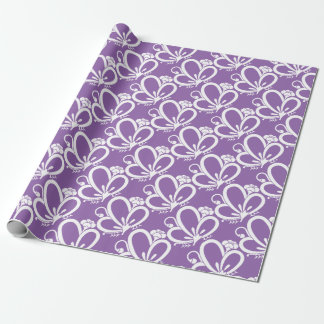 Medium shade plum butterfly wrapping paper