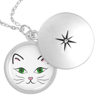 Medium Silver Plated Round Locket - Kitty Face