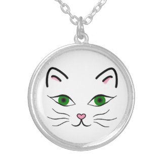 Medium Silver Plated Round Necklace - Kitty Face
