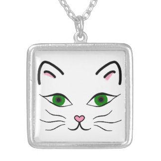 Medium Silver Plated Square Necklace - Kitty Face
