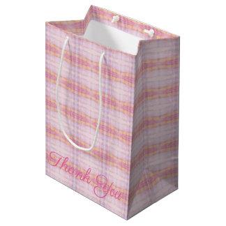 Medium Sized Pink Plaid Thank You Gift Bag