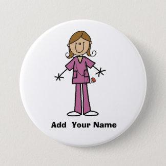 Medium Skin Customized Stick Figure Nurse  Button