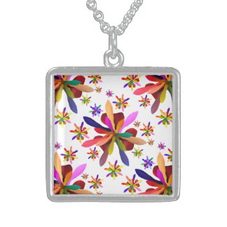Medium Square Necklace with Stylized Flower 1