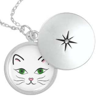 Medium Sterling Silver Round Locket - Kitty Face