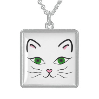 Medium Sterling Silver Square Necklace -Kitty Face