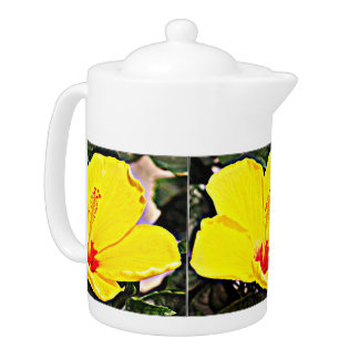 Medium Tea Pot - Yellow Hibiscus Flower