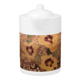 Medium Teapot / Still Life Yellow Flowers with Log