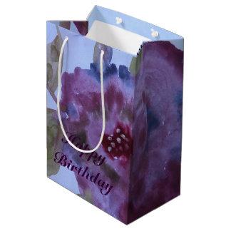 Medium Watercolor Purple Rose Flowered Gift Bag
