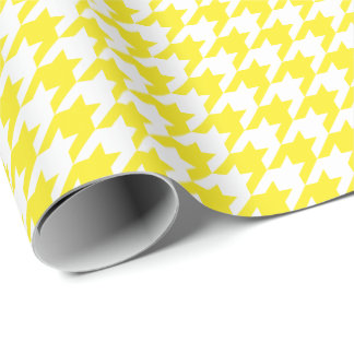 Medium Yellow and White Houndstooth Wrapping Paper