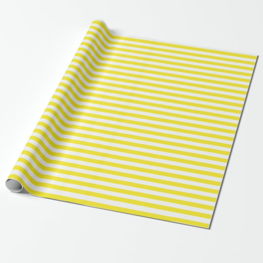 Medium Yellow and White Stripes Wrapping Paper