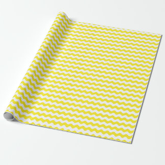 Medium Yellow and White Waves Wrapping Paper