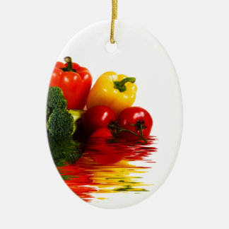 Medley of vegetables over white ceramic ornament