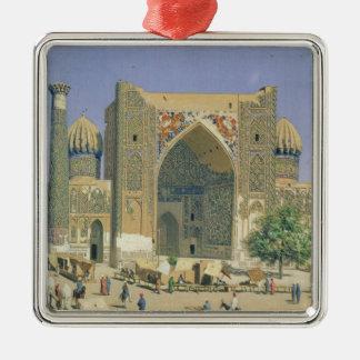 Medrasah Shir-Dhor at Registan place Silver-Colored Square Ornament