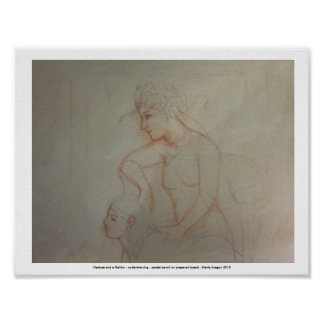 Medusa and a Sphinx - preparatory drawing Poster