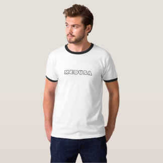 """MEDUSA"" Men's Basic Ringer T-Shirt, White/Black T-Shirt"