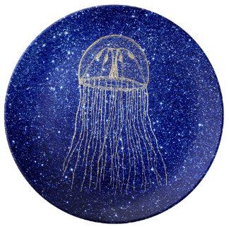 Medusa Sea Life Ocean Blue Gold Foxier Aqua Navy Plate