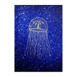 Medusa Sea Life Ocean Blue Navy Golden Foxier Acrylic Print