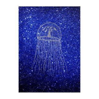Medusa Sea Life Ocean Blue Navy Silver Gray Acrylic Wall Art