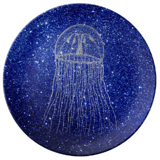 Medusa Sea Life Ocean Blue Silver Gray Aqua Navy Plate